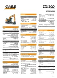 CX130D Long Undercarriage Specifications