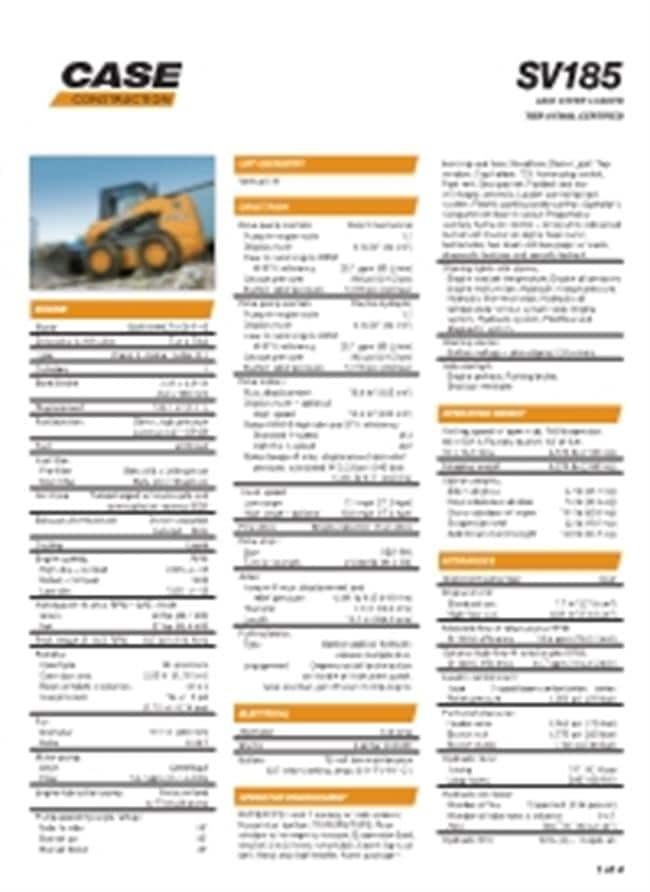 SV185 Specifications
