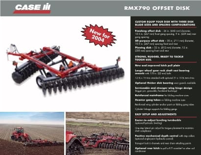 Offset Disk Harrows Spec Sheet