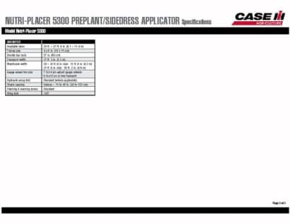 Nutri-Placer 5300 Spec Sheet