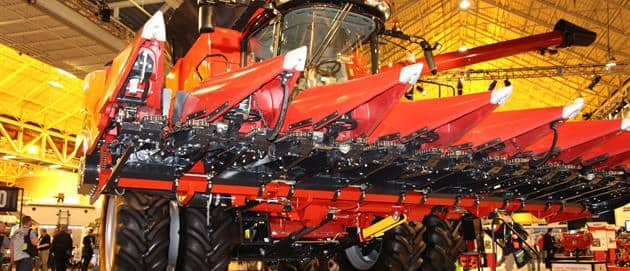 Here's a good look at the folding corn head on the 6140 Axial-Flow combine