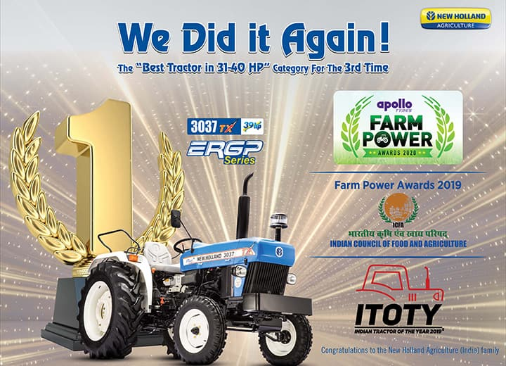 New Holland Agriculture did it again by standing first in the Apollo Farm Power Best Tractor Award in category & Best CSR Intervention