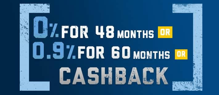 0% for 48 OR 0.9% for 60 OR Cash Back