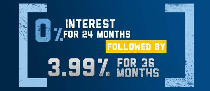 0% Interest for 24 Months followed by 3.9% for 36 Months
